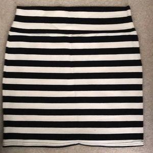 Striped Black and White bodycon Skirt-Cotton On